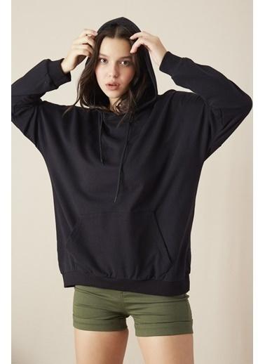 EKA Kapişonlu Uzun Kol Sweatshirt Siyah